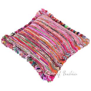 Purple Chindi Rag Rug Sofa Throw Colorful Floor Meditation Pillow Cushion Bohemian Boho Cover - 24""