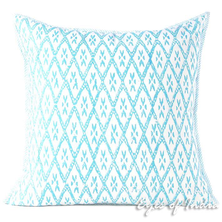 Blue Block Print Colorful Throw Couch Sofa Pillow Bohemian Boho Cushion Cover 16 24