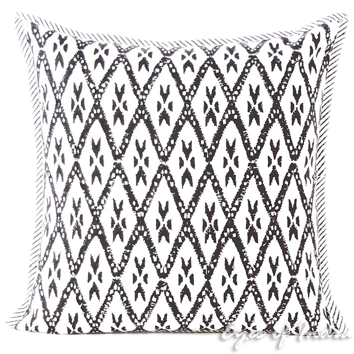 Black Block Print Throw Couch Sofa Colorful Decorative Pillow Cover Cushion Boho