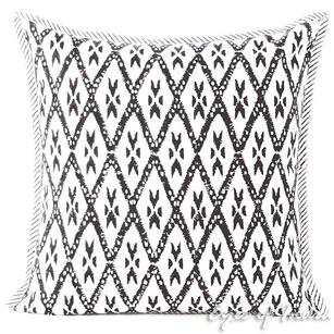 Black Block Print Throw Couch Boho Sofa Bohemian Pillow Cushion Cover - 16, 24""