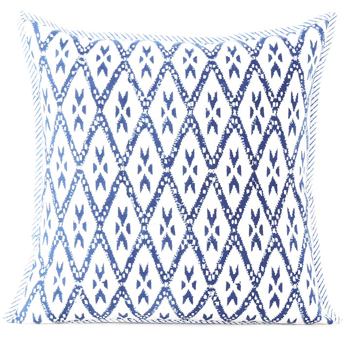 Blue Block Print Couch Pillow Cushion Colorful Decorative Boho Bohemian Sofa Throw Cover - 16, 24""