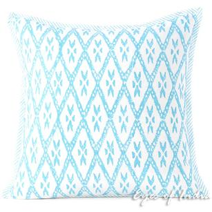 Blue Block Print Throw Couch Sofa Pillow Bohemian Boho Cushion Cover - 16, 24""