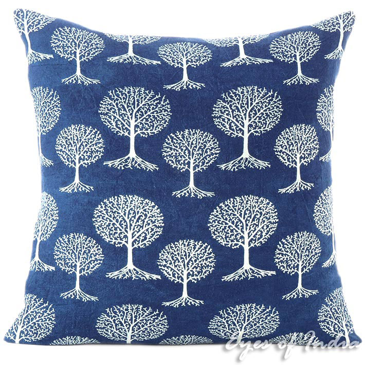 Indigo Blue Block Print Throw Couch Bohemian Sofa Pillow Boho Cover - 16, 24""
