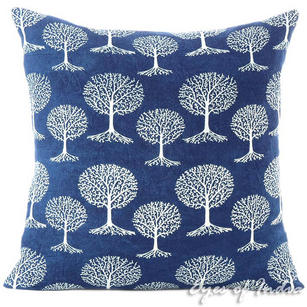 Indigo Blue Block Print Colorful Throw Couch Bohemian Sofa Pillow Boho Cover - 16, 20, 24""