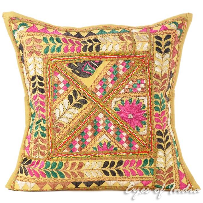 "Brown Patchwork Colorful Throw Bohemian Boho Pillow Cushion Cover Sofa - 16"""
