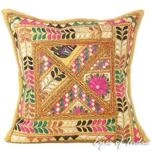 Brown Patchwork Colorful Throw Bohemian Boho Pillow Cushion Cover Sofa - 16""