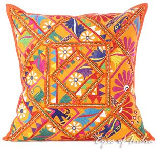 Orange Colorful Patchwork Throw Pillow Sofa Bohemian Boho Cushion Cover - 24""