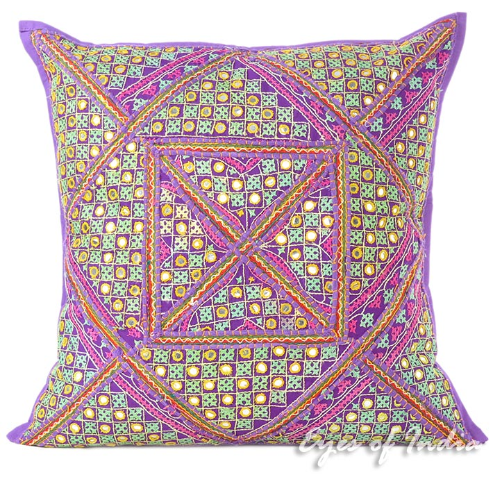 Purple Colorful Patchwork Boho Colorful Sofa Throw Couch Pillow Cushion Cover - 24""