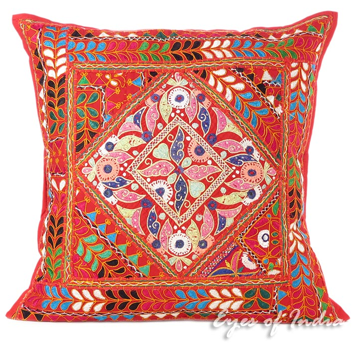 Red Embroidered Patchwork Decorative Pillow Cushion Bohemian Boho Throw Cover - 24""