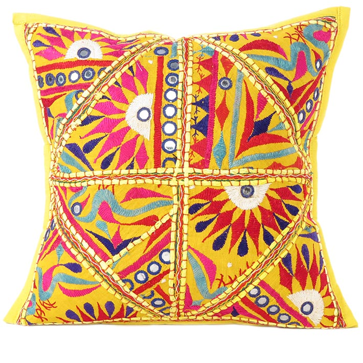 Yellow Embroidered Decorative Bohemian Boho Patchwork Pillow Cushion Throw Cover - 16""