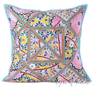 Blue Patchwork Colorful Throw Pillow Cushion Boho Sofa Bohemian Cover - 24""