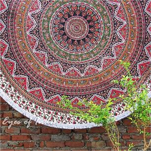 Roundie Beach Throw Picnic Mat Spread Hippie Boho Mandala Tapestry - 80""