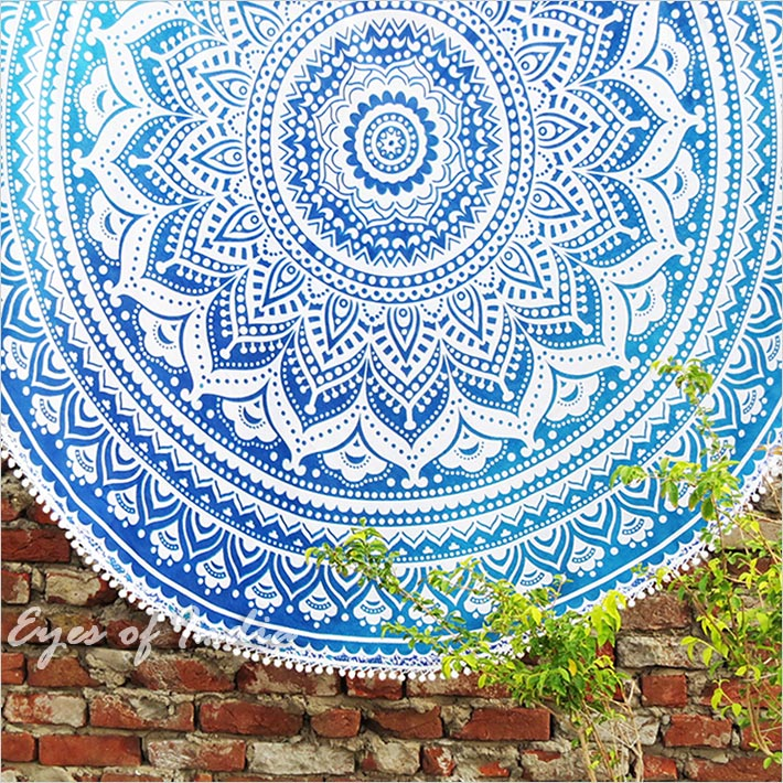 Roundie Beach Throw Picnic Mat Spread Hippie Mandala Bohemian Boho Tapestry - 70""