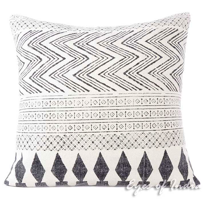 White & Black Dhurrie Printed Cushion Couch Pillow Sofa Colorful Throw Cover Indian Bohemian Boho - 28""