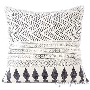 "28"" White & Black Dhurrie Printed Cushion Pillow Throw Cover Indian Bohemian Boh"