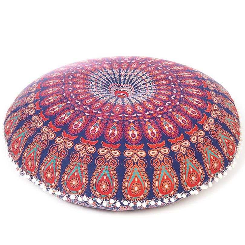 "Decorative Seating Boho Mandala Bohemian Round Floor Cushion Dog Bed Throw Meditation Pillow Cover - 32"""