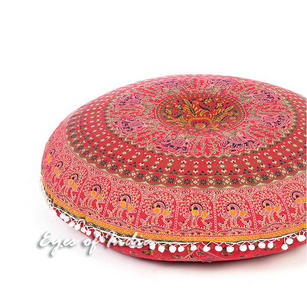 Oversized Red Large Boho Square Mandala Round Colorful Floor Pillow Meditation Pouf Dog Bed Cover - 35""