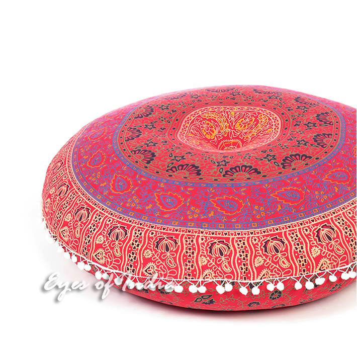 "Blue Bohemian Decorative Seating Boho Mandala Throw Round Floor Meditation Cushion Pillow Cover - 32"""