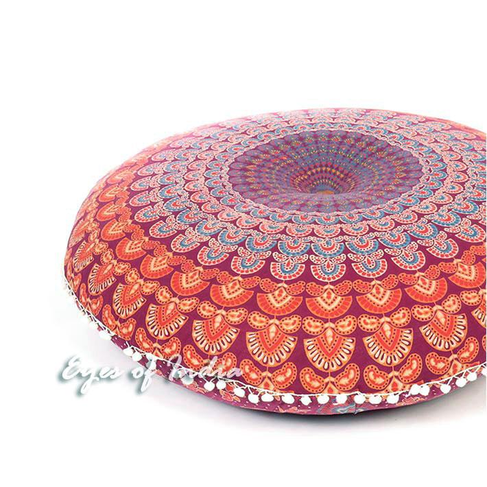 "Mandala Hippie Boho Round Floor Meditation Pillow Cushion Seating Dog Bed Bohemian Throw Cover - 32"""