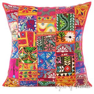 Red Patchwork Colorful Decorative Sofa Throw Couch Pillow Cushion Bohemian Boho Cover - 24""