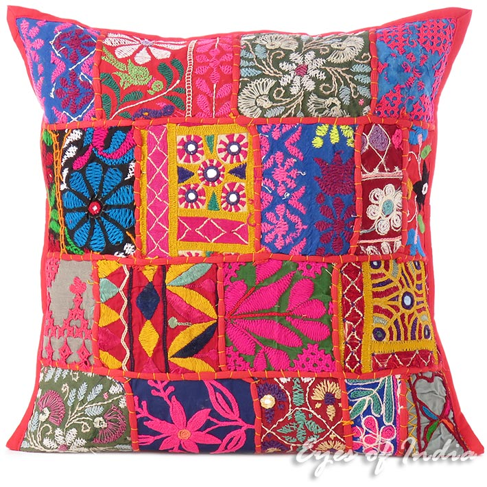 """Red Patchwork Decorative Couch Pillow Cushion Bohemian Throw Cover - 16"""""""