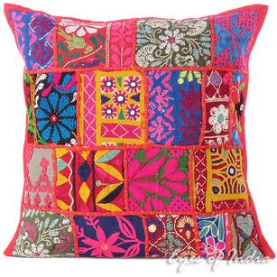 Red Patchwork Colorful Decorative Couch Pillow Cushion Bohemian Sofa Throw Cover - 16""