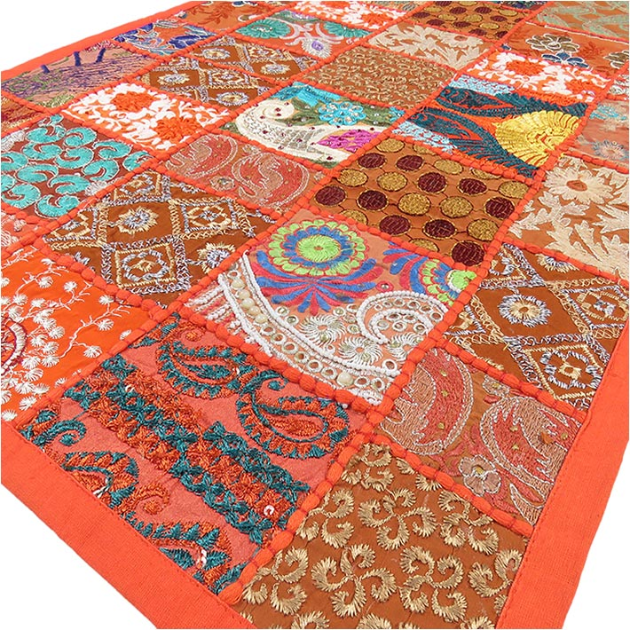 Orange Embroidered Boho Bohemian Decorative Wall Hanging Tapestry - 20 X 60""