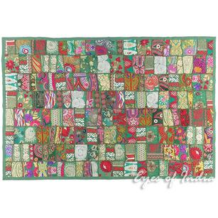 """Green Decorative Boho Bohemian Embroidered Tapestry Wall Hanging - 40 X 60"""""""