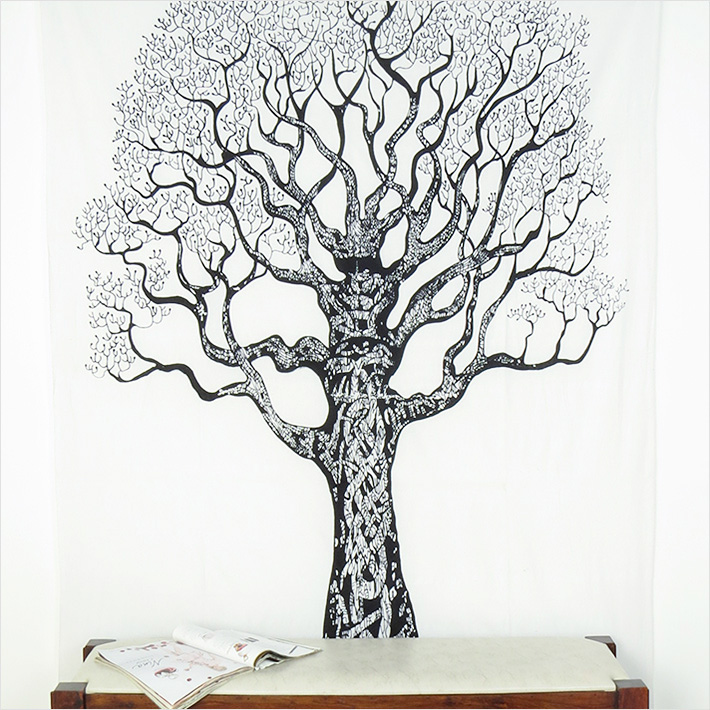 White Hippie Boho Mandala Tree Life Tapestry Bohemian Wall Hanging