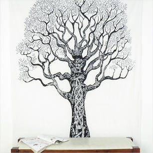 White Hippie Boho Mandala Tree Life Tapestry Bohemian Wall Hanging Single/Double