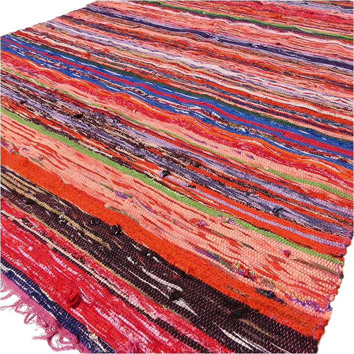 Burgundy Red Bohemian Boho Colorful Chindi Woven Area Rag Rug - 3 X 5 ft