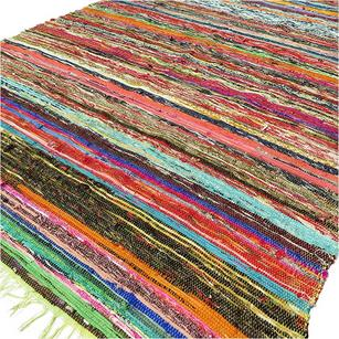 Green Colorful Woven Chindi Boho Bohemian Area Rag Rug Decorative - 3 X 5 ft