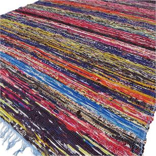 Blue Decorative Colorful Woven Area Rag Rug Boho Bohemian Chindi Rug - 3 X 5 ft