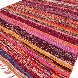 Orange Decorative Colorful Woven Chindi Bohemian Boho Rag Rug - 3 X 5 ft