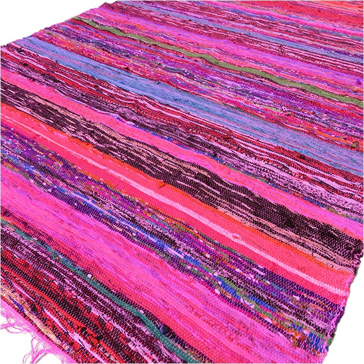 Pink Decorative Boho Bohemian Colorful Woven Area Rag Rug Chindi - 3 X 5 ft
