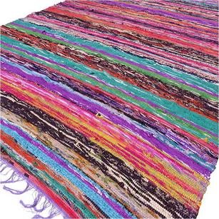 Purple Decorative Woven Boho Bohemian Accent Area Rag Rug Chindi - 3 X 5 ft