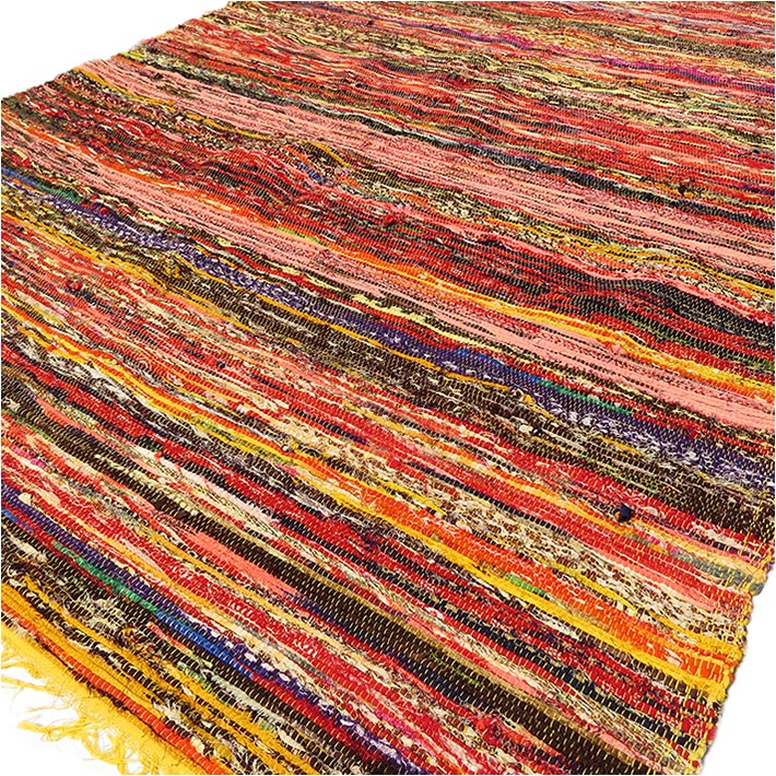 Yellow Decorative Colorful Boho Bohemian Chindi Woven Rag Rug - 3 X 5 ft