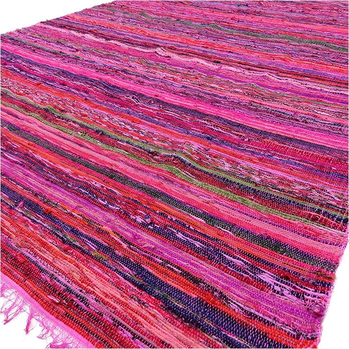 Pink Woven Rug, Pink Rag Rug