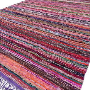 Sentinel Purple Decorative Colorful Boho Bohemian Chindi Woven Area Rag Rug    5 X 7 Ft