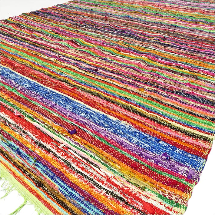 Green Colorful Decorative Woven Bohemian Boho Area Rag Rug Chindi - 4 X 6 ft
