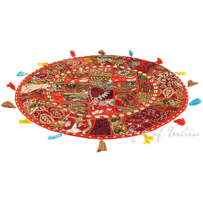 28-034-Red-Patchwork-Floor-Cushion-Seating-Pillow-Throw-Cover-Bohemian-Accent-India thumbnail 3