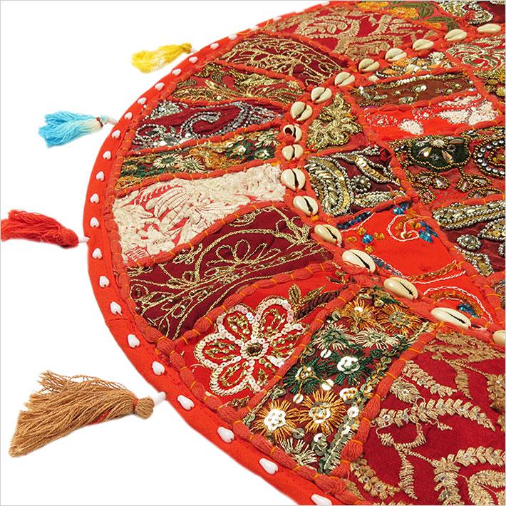 28-034-Red-Patchwork-Floor-Cushion-Seating-Pillow-Throw-Cover-Bohemian-Accent-India thumbnail 4
