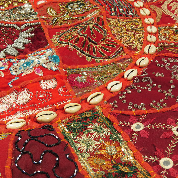 28-034-Red-Patchwork-Floor-Cushion-Seating-Pillow-Throw-Cover-Bohemian-Accent-India thumbnail 5