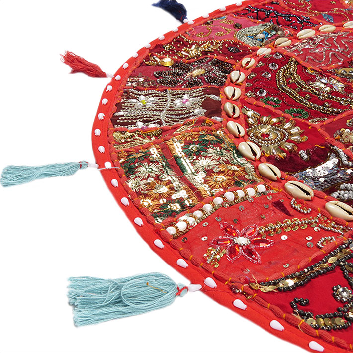 28-034-Red-Patchwork-Floor-Cushion-Seating-Pillow-Throw-Cover-Bohemian-Accent-India thumbnail 19