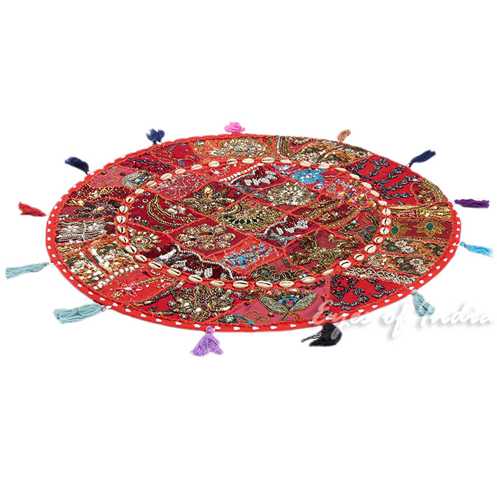 28-034-Red-Patchwork-Floor-Cushion-Seating-Pillow-Throw-Cover-Bohemian-Accent-India thumbnail 20