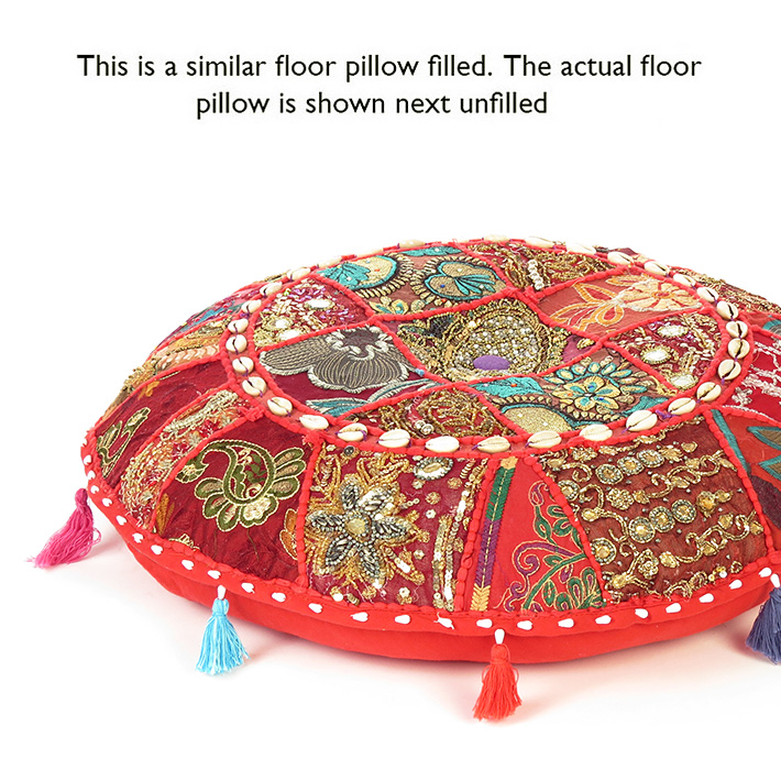 28-034-Red-Patchwork-Floor-Cushion-Seating-Pillow-Throw-Cover-Bohemian-Accent-India thumbnail 22
