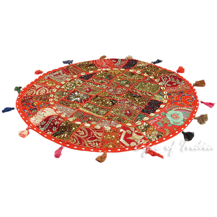 28-034-Red-Patchwork-Floor-Cushion-Seating-Pillow-Throw-Cover-Bohemian-Accent-India thumbnail 55