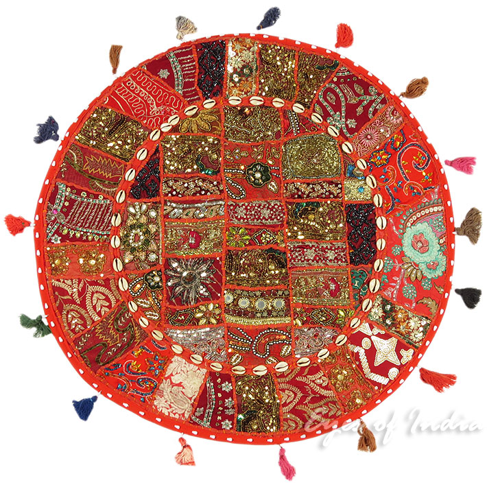 28-034-Red-Patchwork-Floor-Cushion-Seating-Pillow-Throw-Cover-Bohemian-Accent-India thumbnail 56
