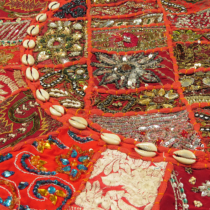 28-034-Red-Patchwork-Floor-Cushion-Seating-Pillow-Throw-Cover-Bohemian-Accent-India thumbnail 57