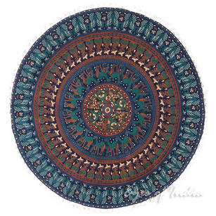 Bohemian Round Colorful Floor Meditation Pillow Dog Bed Decorative Mandala Hippie Cushion Cover - 32""
